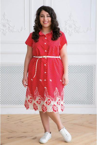 Червоне легке плаття міді в горох для жінок з пишними формами