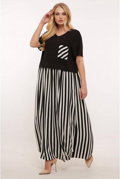 Чорне повсякденне плаття максі в білу смужку