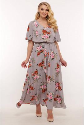 Сіра вишукана сукня максі для жінок з апетитними формами
