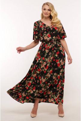 Чорне розкішне довге плаття з яскравим принтом