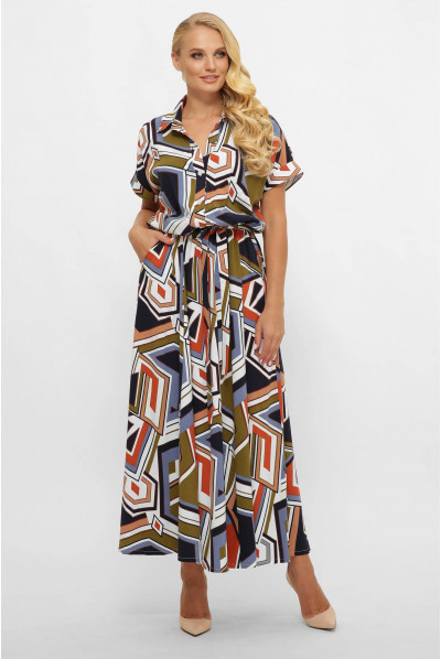 Актуальна жіноча сукня максі кольору хакі