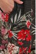 Чорне жіночне легке плаття міді з принтом