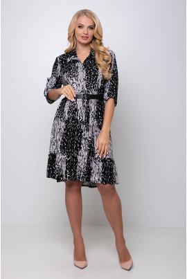 Чорне оригінальне принтоване плаття для жінок з пишними формами