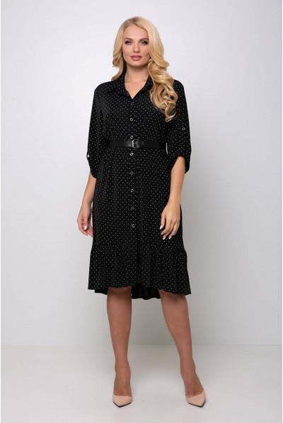 Чорна лаконічна сукня міді на кожен день