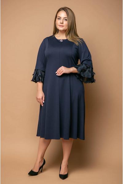 Темно-синя гармонійна жіноча сукня великих розмірів