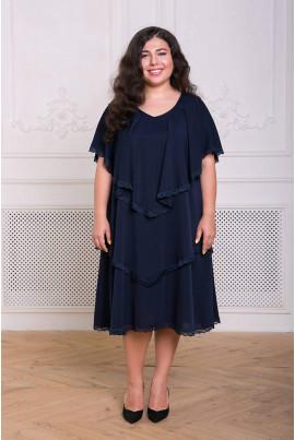 Темно-синє зачаровуюче плаття для жінок з апетитними формами