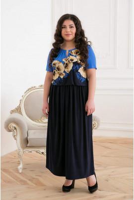 Темно-синє принтоване привабливе плаття максі великих розмірів