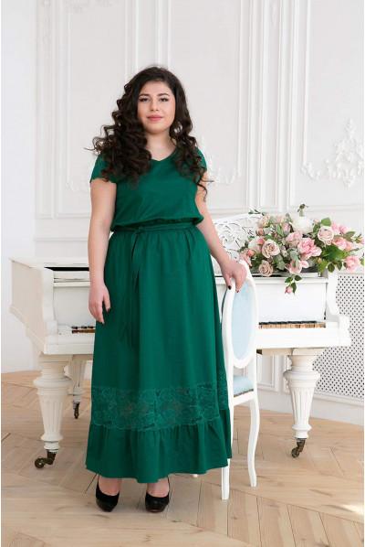 Зелене розкішне плаття максі для жінок з пишними формами