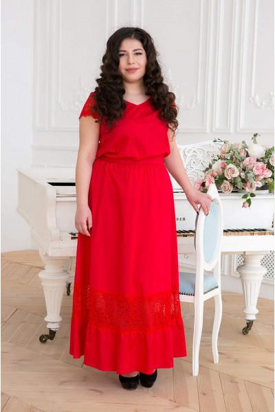 Червоне барвисте плаття максі для повних жінок