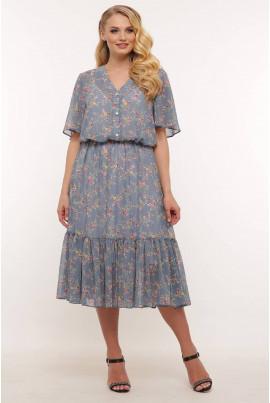 Блакитне жіночне легке плаття на стрейчовому чохлі