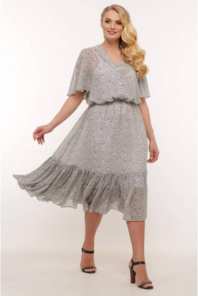 Сіре чарівне ніжне плаття з квітковим принтом