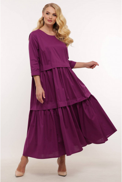Бузкове яскраве жіноче плаття А-силуету