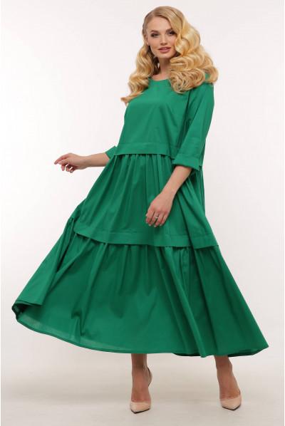 Зелена приваблива довга суня для жінок з пишними формами