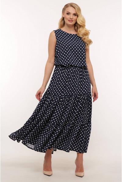 Темно-синє розкішне літнє плаття в горох