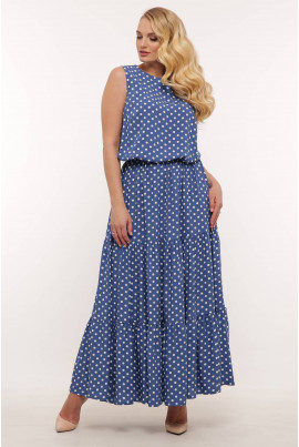 Блакитне ніжне довге плаття з оборками