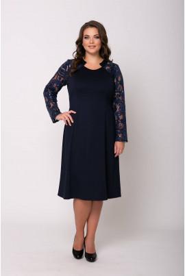 Темно-синє привабливе жіноче плаття з гіпюром