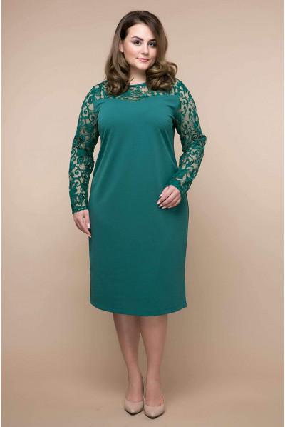 Зелене чарівне практичне плаття з гіпюром