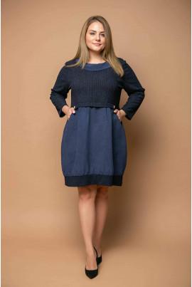 Темно-синє коротке плаття великих розмірів