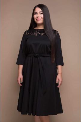 Чорне просторе плаття міді з поясом для жінок з пишними формами