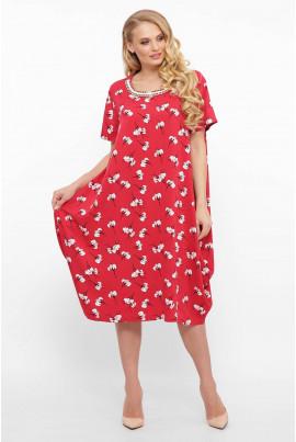 Червоне універсальне літнє плаття з принтом