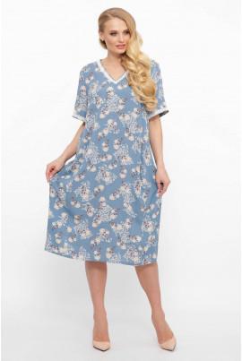 Блакитне літнє принтоване плаття для повних жінок