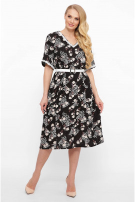 Чорне лляне плаття міді з квітковим принтом