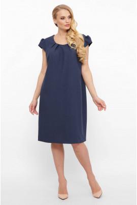Темно-синя лляна сукня для жінок з пишними формами