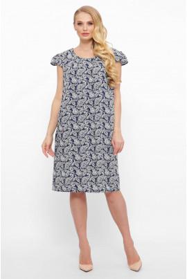Темно-синя простора сукня з оригінальним принтом