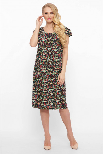Чорне актуальне літнє плаття з дрібним принтом