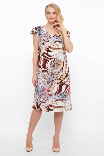 Блідо-блакитне лаконічне плаття міді з леопардовим принтом
