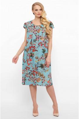 Блакитне легке універсальне плаття для повних жінок