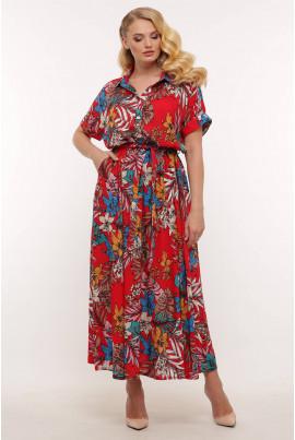 Червона довга сукня с квітковим принтом