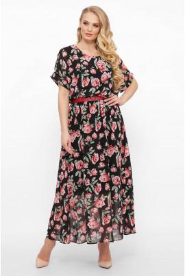 Чорна довга барвиста сукня з поясом для повних жінок