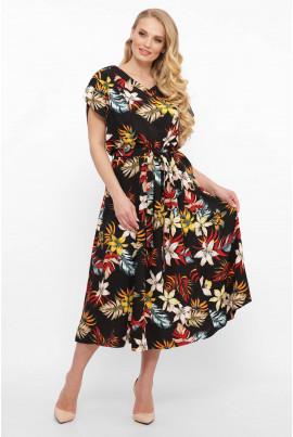 Чорна лляна барвиста сукня міді для жінок з пишними формами