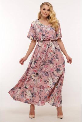 Рожева ошатна довга сукня для жінок з апетитними формами