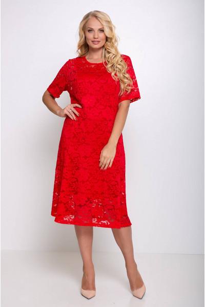 Червоне яскраве гіпюрове плаття міді великих розмірів