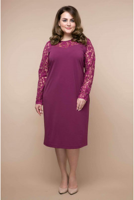 Бузкова однотонна жіноча сукня міді для повних жінок