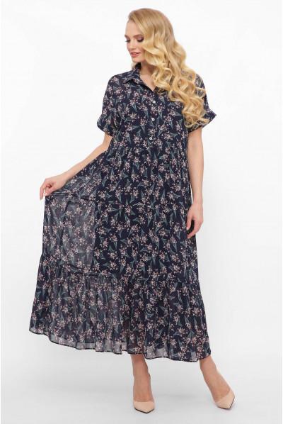 Шифонове плаття темно синє з принтом