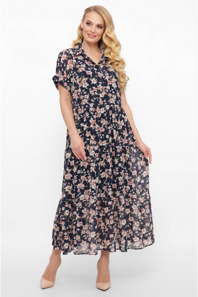 Шифонове плаття з комірцем і гарними квітами