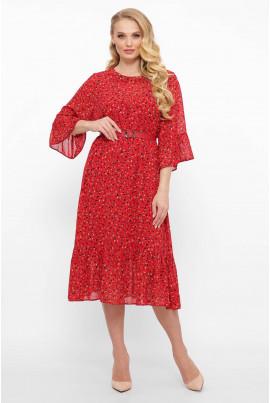 Актуальне шифонове плаття червоного кольору з оборками