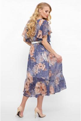 Ніжне блакитне шифонове плаття батал з воланом