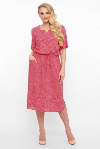 Червоне штапельне плаття з куліскою