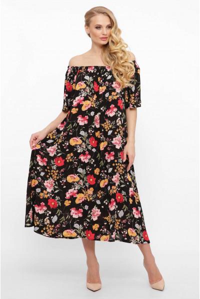 Шикарне льняне плаття а силуету з квітами