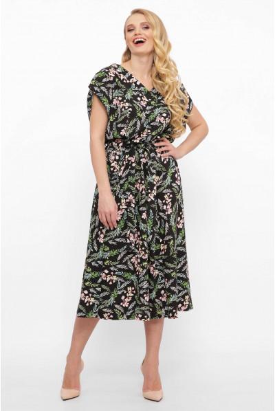 Льняне плаття батал на літо з оригінальним принтом