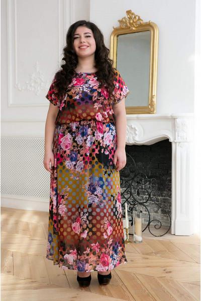 Літне шифонове плаття максі з яскравим принтом