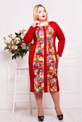 Оригінальна червона сукня з вставкою принт троянди