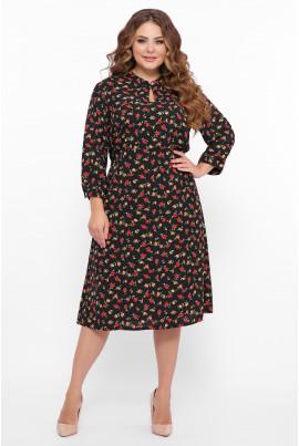 Чорна чарівна квіткова сукня міді великих розмірів