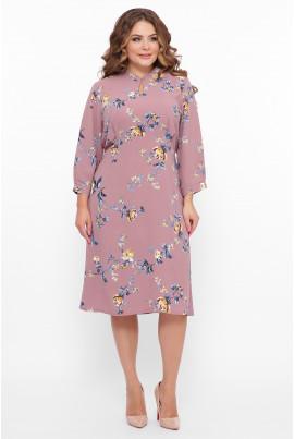 Рожева чарівна сукня міді з квітковим принтом