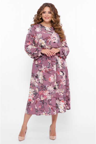 Бузкова розкішна ошатна сукня з принтом