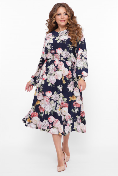 Темно-синя шикарна довга сукня з принтом
